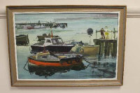 Tom Dack (b.1933), Blyth Harbour, oil on board, signed, 45cm by 29cm.