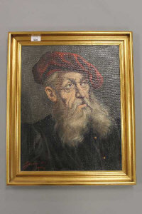 Continental school, 20th century, Portrait study of a bearded man, oil on canvas, indistinctly signed, 39cm by 49cm.