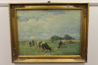 Continental school, Cattle in the mid day sun, oil on canvas, indistinctly signed, 73cm by 54cm.
