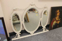 A Victorian painted and gilt triple overmantel mirror, width 113cm.