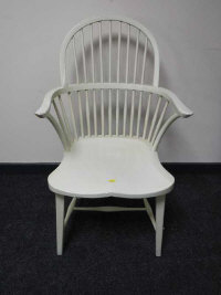 A 19th century style painted Windsor style chair, width 54cm.