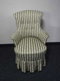 A 19th century bedroom chair upholstered in green floral striped fabric, width 60cm.