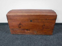 A 19th century stained pine blanket box, width 94cm.