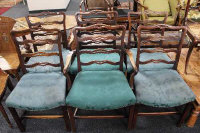 A set of six George III style dining chairs. (6)