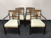 A set of four 19th century inlaid mahogany armchairs, width 54cm. (4)
