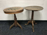 A 19th century mahogany pedestal table, together with a late 19th century circular games top table. (2)