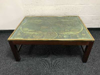 A mid 20th century brass bound map top coffee table, length 117cm.