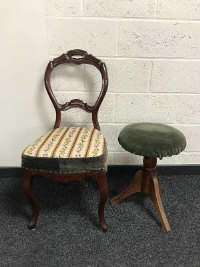 A small circular piano stool together with a Victorian style chair. (2)
