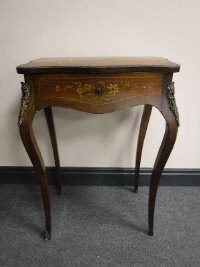 A French rosewood, satinwood inlaid and gilt metal mounted single drawer table, on cabriole legs, width 52cm.