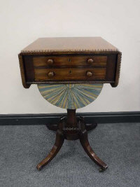 A Victorian mahogany dropleaf work table, on sabre legs raised on brass castors, width 44cm.