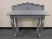 A Victorian grey-painted console table, on cabriole legs, width 112cm.