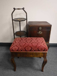 A mahogany cake stand, together with a bedside cabinet and an upholstered piano stool. (3)