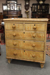 A Victorian pine chest of five drawers, width 94cm.