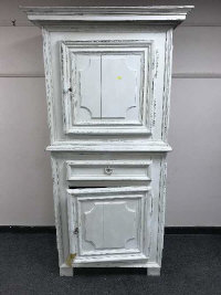 A French painted double door cupboard, width 102 cm.