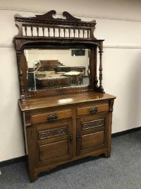A Victorian mahogany mirror backed sideboard, width 122 cm.