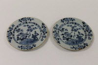 A pair of eighteenth century blue and white tin-glazed plates, diameter 22.5 cm. (2)
