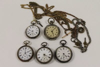 A silver pocket watch, H.J.Norris, London 1885, together with four further pocket watches, three watch chains and a gilt metal muff chain. (9)