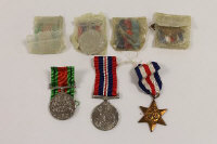 A group of seven WW II medals awarded to E.W. and F. Lee, with suspension ribbons. (7)