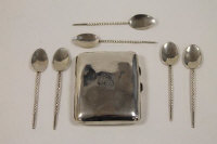 Six silver teaspoons, Gerald Owen, London 1984, together with a silver cigarette case. (7)