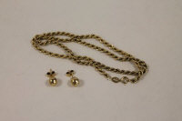 A 9ct gold rope-twist necklace, together with a pair of earrings, 5.4g. (3)