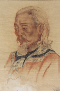 Chinese School : A portrait of bearded Gentleman, colour chalks, indistinctly signed, dated 27/3/39, together with two others similar, framed. (3)