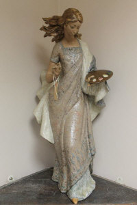 A Lladro figure - La Pintura, retired 1985, sculpted by Vincente Martinez, height 70 cm.