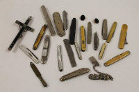 A silver penknife, Birmingham 1894, together with a collection of other interesting penknives etc. (Q)
