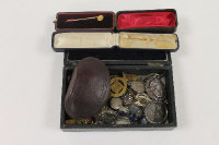 A box containing late Victorian silver brooches, studs, 15ct gold pin etc. (Q)
