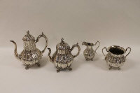 A late Victorian silver plated four piece tea service. (4)