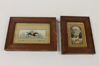 A Thomas Stevens silk panel depicting Dick Turpin's last ride on his bonnie Black Bess, together with a W H Grant silk depicting The Right Hon. W.E.Gladstone, M.P., both in original oak frames. (2)