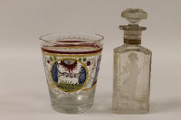 A late eighteenth / early nineteenth century continental glass beaker, together with a cameo glass decorated scent flask. (2)