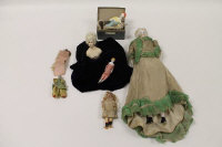 A continental porcelain doll, together with four miniature dolls and three half-Lady's. (8)