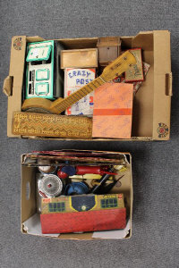 A 1950s Mettoy tin plate oven, together with miniature pots and pans, playing cards and other nursery items. (Q).