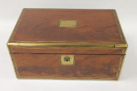 A Victorian mahogany brass bound writing box, width 41 cm.