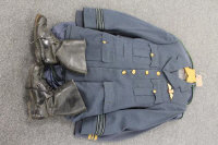 An RAF three piece dress uniform together with two piece RAF uniform and a pair of black leather flying boots.