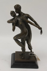After Demetre H. Chiparus - A bronze study of two dancers, on marble plinth, height 35 cm.