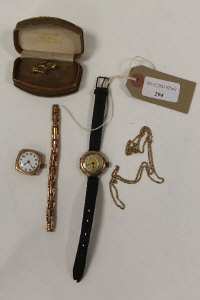 Two 9ct gold Gentleman's wristwatches together with a 9ct gold bar brooch and a yellow metal necklace. (4).