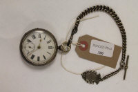 A silver pocket watch, Birmingham 1893, together with a silver Albert chain with fob.