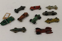 A Dinky Bristol 450 Racing car, together with nine other die-cast racing cars, mainly pre-war. (10).