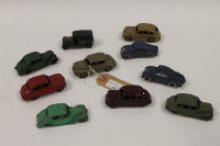 A Dinky Morris Oxford, together with nine other Dinky vehicles such as two Royal Mail Air Service vehicles. (10).