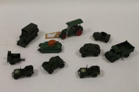 A Dinky Aveling-Barford Steam Roller together with nine other Dinky vehicles such as pre-war Army Tank (22f). (10).