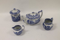 A suite of one hundred and thirty two pieces of Copeland Spode's Italian design blue and white china.  (132)