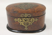 A late nineteenth century burr walnut tea caddy, stamped 'Pearce, London', width  22 cm.