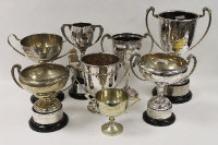 A collection of eight silver-plated trophies. (8)