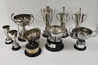 A pair of silver-plated trophies, together with five other sporting trophies. (7)