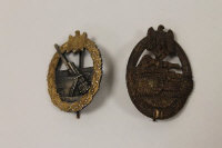 A period Third Reich Kriegsmarine coastal artillery badge, together with a Panzer grenadiers badge. (2)