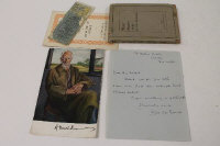 A signed colour print of George Bernard Shaw, together with a signed programme 'Waters of the moon', and other items of theatrical interest. (Q)