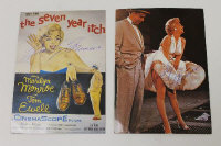 Two signed 1970's French postcards depicting Marilyn Monroe, both signed by her secretary. (2)