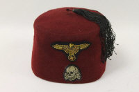 A rare period Third Reich SS Handchar fez, maroon wool with cloth sweatband interior.