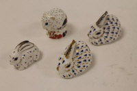 Four Royal Crown Derby paperweights  - Rabbits and Derby Doormouse. (4)